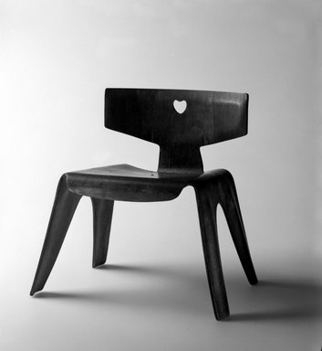 Ray Eames (American, born Bernice Alexander Kaiser, 1912-1988). Child's Chair, ca. 1945. Molded plywood, 14 1/4 x 14 1/4 x 10 3/4 in. (36.0 x 36.0 x 27.2 cm). Brooklyn Museum, Modernism Benefit Fund, 1996.6. Creative Commons-BY