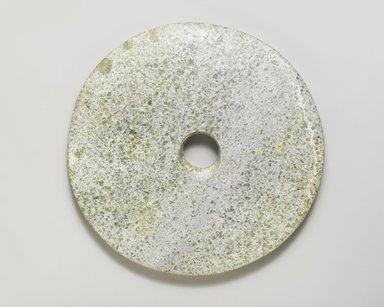 Ritual Disk (Bi). Gray-green stone, diam.: approx. 6 15/16 in. Brooklyn Museum, Gift of Robert H. Ellsworth, 1996.71.2. Creative Commons-BY