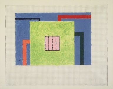 Peter Halley (American, 1953). Untitled, 1989. Gouache on graph paper, 18 x 22 1/2 in. Brooklyn Museum, Gift from the Collection of Estelle Schwartz, 1996.92.1. © Peter Halley