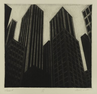 Michael di Cerbo (American, born 1947). Pinnacles, 1987. Etching on cream wove paper, Sheet: 37 11/16 x 38 7/8 in. (95.8 x 98.8 cm). Brooklyn Museum, Gift of the artist, 1996.95.2. © Michael di Cerbo