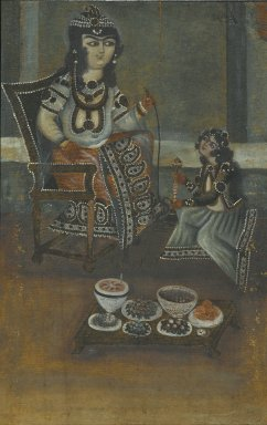 Female Attendant Offering a Waterpipe to a Princess Seated on a Throne, 19th century. Oil on canvas, mounted on panel, 18 1/2 x 11 7/8 in. Brooklyn Museum, Bequest of Irma B. Wilkinson in memory of her husband, Charles K. Wilkinson, 1997.108.11
