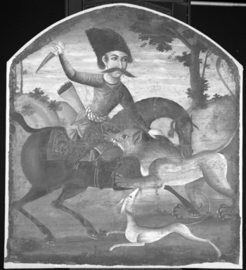 Hunter on Horseback Attacked by a Lion, mid 18th century. Oil on canvas, 37 1/2 x 34 in. (95.3 x 86.4 cm). Brooklyn Museum, Bequest of Irma B. Wilkinson in memory of her husband, Charles K. Wilkinson, 1997.108.1