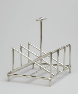 Christopher Dresser (English, 1834-1904). Toast Rack, ca. 1880. Silverplate, 5 3/8 x 5 1/4 x 4 1/4 in. (13.7 x 13.3 x 10.8 cm). Brooklyn Museum, Gift of Marie Bernice Bitzer, by exchange, 1997.114. Creative Commons-BY