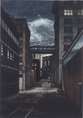 Frederick Mershimer (American, born 1958). Plymouth Street, 1990. Mezzotint on paper, sheet: 13 1/16 x 9 7/8 in. (33.2 x 25.1 cm). Brooklyn Museum, Gift of the Estate of John Halverson, 1997.128.1. © Frederick Mershimer
