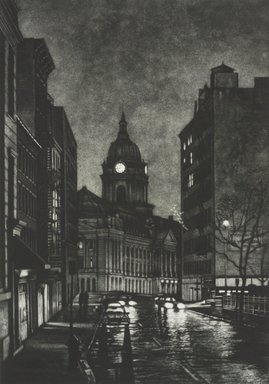 Frederick Mershimer (American, born 1958). Cleveland Place, 1990. Mezzotint on paper, sheet: 14 9/16 x 11 1/16 in. (37.0 x 28.1 cm). Brooklyn Museum, Gift of the Estate of John Halverson, 1997.128.2. © Frederick Mershimer
