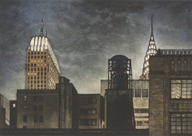 Frederick Mershimer (American, born 1958). Rivals, 1993. Mezzotint on paper, sheet: 12 x 14 1/2 in. (30.6 x 36.9 cm). Brooklyn Museum, Gift of the Estate of John Halverson, 1997.128.3. © Frederick Mershimer