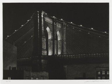 Frederick Mershimer (American, born 1958). [Untitled] (Brooklyn Bridge), 1985. Mezzotint on paper, sheet: 14 13/16 x 19 3/8 in. (37.6 x 49.2 cm). Brooklyn Museum, Gift of the Estate of John Halverson, 1997.128.4. © Frederick Mershimer