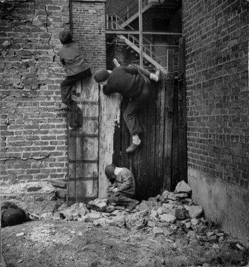 Vivian Cherry (American, born 1920). [Untitled] (Three Boys on a Wall), 1948. Gelatin silver photograph (vintage), 7 1/2 x 6 7/8 in. (19.1 x 17.5 cm). Brooklyn Museum, Gift of Steven Schmidt, 1997.138.1. © Vivian Cherry