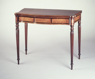 Card Table, ca. 1800. Mahogany, birdseye maple veneer and wood inlay, white pine, 29 1/2 x 36 1/4 x 117 3/4 in. (73.9 x 92.7 x 45.8 cm). Brooklyn Museum, Matthew Scott Sloan Collection, Gift of Lidie Lane Sloan McBurney, 1997.150.14. Creative Commons-BY