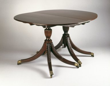 Duncan Phyfe (1768-1854). Dining Table, ca. 1800. Mahogany, 29 1/2 x 48 x 78 in.  (74.9 x 121.9 x 198.1 cm). Brooklyn Museum, Matthew Scott Sloan Collection, Gift of Lidie Lane Sloan McBurney, 1997.150.15a-c. Creative Commons-BY