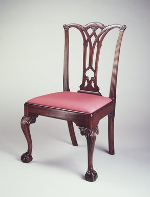 Side Chair, ca. 1780. Mahogany, yellow pine, modern upholstery, 39 x 23 1/2 x 21 in. (99.0 x 59.6 x 53.3 cm). Brooklyn Museum, Matthew Scott Sloan Collection, Gift of Lidie Lane Sloan McBurney, 1997.150.4. Creative Commons-BY