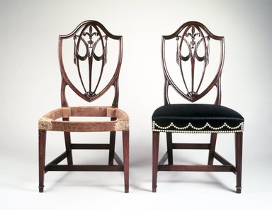 Side Chair, ca. 1800. Mahogany, red gum, ash secondary wood, modern horsehair upholstery, brass tacks, 39 1/4 x 21 1/4 x 18 1/2 in. (99.69 x 53.97 x 46.99 cm). Brooklyn Museum, Matthew Scott Sloan Collection, Gift of Lidie Lane Sloan McBurney, 1997.150.7. Creative Commons-BY
