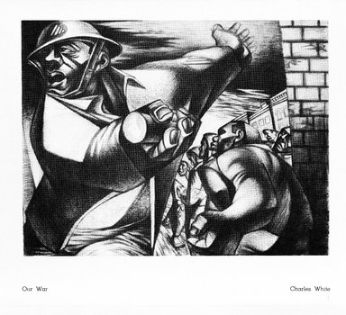 Charles W. White (American, 1918-1979). Our War, 1949. Print, sheet: 9 x 14 in. (22.9 x 35.6 cm). Brooklyn Museum, Gift of Reba and Dave Williams, 1997.156.3. © The Charles White Archives