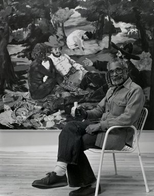 Arthur Mones (American, 1919-1998). Robert Colescott (Painting), 1981. Gelatin silver photograph on fiber based paper, sheet: 14 x 10 3/4 in. (35.6 x 27.2 cm). Brooklyn Museum, Gift of the artist, 1997.162.14. © Estate of Arthur Mones