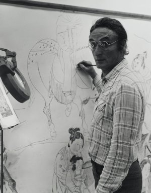 Arthur Mones (American, 1919-1998). Larry Rivers (Painting), 1980. Gelatin silver photograph on fiber based paper, sheet: 14 x 10 3/4 in. (35.6 x 27.2 cm). Brooklyn Museum, Gift of the artist, 1997.162.15. © Estate of Arthur Mones