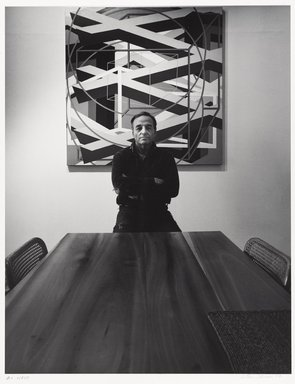 Arthur Mones (American, 1919-1998). Al Held (Painting), 1979. Gelatin silver photograph on fiber based paper, sheet: 14 x 10 3/4 in. (35.6 x 27.2 cm). Brooklyn Museum, Gift of the artist, 1997.162.16. © Estate of Arthur Mones
