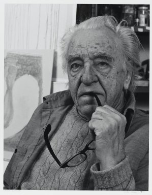 Arthur Mones (American, 1919-1998). Adja Yunkers (Painting), 1983. Gelatin silver photograph on fiber based paper, sheet: 14 x 10 3/4 in. (35.6 x 27.2 cm). Brooklyn Museum, Gift of the artist, 1997.162.17. © Estate of Arthur Mones