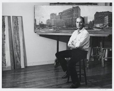 Arthur Mones (American, 1919-1998). Rackstraw Downes (Sculpture), 1990. Gelatin silver photograph on fiber based paper, sheet: 10 3/4 x 14 in. (27.2 x 35.6 cm). Brooklyn Museum, Gift of the artist, 1997.162.19. © Estate of Arthur Mones