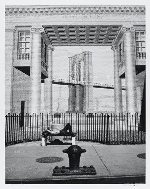 Arthur Mones (American, 1919-1998). New York - Peck Slip (Painting), 1992. Gelatin silver photograph, Image: 13 1/2 x 10 1/2 in. (34.3 x 26.7 cm). Brooklyn Museum, Gift of the artist, 1997.162.3. © Estate of Arthur Mones