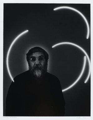 Arthur Mones (American, 1919-1998). Stephen Antonakos, 1979. Gelatin silver photograph on fiber based paper, sheet: 14 x 10 3/4 in. (35.6 x 27.2 cm). Brooklyn Museum, Gift of the artist, 1997.162.8. © Estate of Arthur Mones