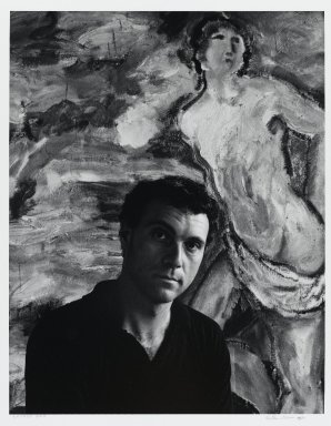 Arthur Mones (American, 1919-1998). Sandro Chia (Painting), 1983. Gelatin silver photograph on fiber based paper, sheet: 14 x 10 3/4 in. (35.6 x 27.2 cm). Brooklyn Museum, Gift of the artist, 1997.162.9. © Estate of Arthur Mones
