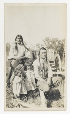 American. [Untitled] (Family Group of Man, Woman, and Two Girls), ca. 1900. Gelatin silver photograph, 5 1/4 x 3 1/8 in. (13.3 x 8.9 cm). Brooklyn Museum, Gift of Sasha Nyary and Family, 1997.163.12
