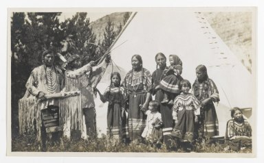 American. [Untitled] (Two Chiefs, Three Women, and Five Children in front of a Teepee), ca. 1900. Gelatin silver photograph, 5 1/4 x 3 1/8 in. (13.3 x 8.0 cm). Brooklyn Museum, Gift of Sasha Nyary and Family, 1997.163.16