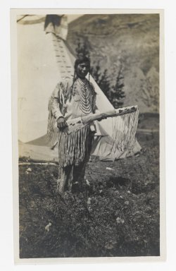 Unknown. [Untitled] (Native American Chief Standing in front of Teepee), ca. 1900. Gelatin silver photograph, 5 1/4 x 3 1/8 in. (13.3 x 8.0 cm). Brooklyn Museum, Gift of Sasha Nyary and Family, 1997.163.17