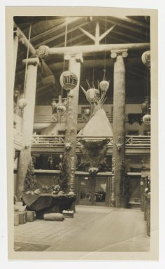 Unknown. [Untitled] (Exhibition Hall with a Bear Skin and Native American Artifacts), ca. 1900. Gelatin silver photograph, 2 5/8 x 3 7/8 in. (6.6 x 9.8 cm). Brooklyn Museum, Gift of Sasha Nyary and Family, 1997.163.19