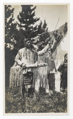 Unknown. [Untitled] (Two Chiefs, One with Bow and Arrow), ca. 1900. Gelatin silver photograph, 5 1/4 x 3 1/8 in. (13.3 x 8.0 cm). Brooklyn Museum, Gift of Sasha Nyary and Family, 1997.163.1