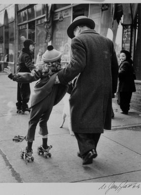 N. Jay Jaffee (American, 1921-1999). Girl Learning to Skate (Livonia Avenue, East New York), from the series An Era Past: Photographs of Brownsville and East New York, Brooklyn, 1950; printed 1995. Selenium-toned gelatin silver photograph on Ilford Galerie FB paper, Sheet: 9 15/16 x 7 15/16 in. (25.2 x 20.2 cm). Brooklyn Museum, Gift of Paula W. Hackeling, 1997.164.20. © The N. Jay Jaffee Trust