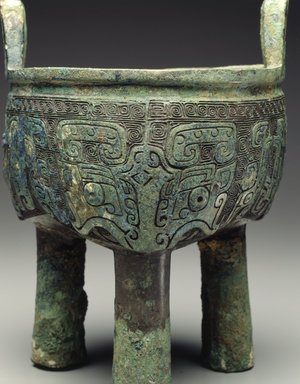 Ritual Tripod Vessel (Ding), 12th-11th century B.C.E. Cast bronze with inlay, 8 7/16 x 6 7/16 x 6 3/8 in. (21.4 x 16.4 x 16.2cm). Brooklyn Museum, Anonymous gift, 1997.178. Creative Commons-BY