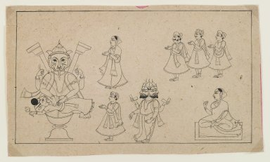 The Legend of Narasimha, ca. 1800. Black ink on paper, 6 x 10 in. (15.0 x 25.5 cm). Brooklyn Museum, Gift of Dr. Bertram H. Schaffner, 1997.184.3