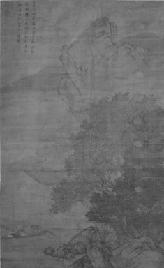 Style of Tang Yin (Chinese, 1470-1523). Fishermen Returning in the Rain, 1368-1644. Ink and light color on silk, overall: 69 x 44 in. Brooklyn Museum, Gift of the C. C. Wang Family Collection, 1997.185.11