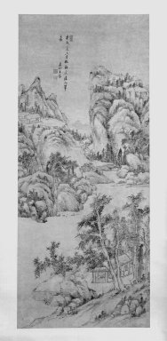 Wang Chen. Mountain Landscape in the Style of Wu Zhen, 1790. Hanging scroll, Ink on paper, overall: 104 1/4 x 29 3/4 in., 33 3/4 in. with rollers. Brooklyn Museum, Gift of the C. C. Wang Family Collection, 1997.185.12