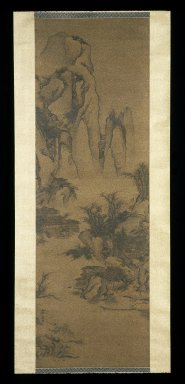 School of Li Yin. Mountain Landscape in the Style of Guo Xi, 18th century. Ink and light color on silk, overall: 108 1/8 x 27 15/16 in., 32 5/8 in. with rollers. Brooklyn Museum, Gift of the C. C. Wang Family Collection, 1997.185.15