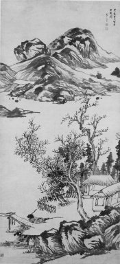 Attributed to Li Liufang. Mountain Landscape, early 17th century. Ink on paper, overall: 95 3/8 x 28 7/8 in., 31 7/8 in. with rollers. Brooklyn Museum, Gift of the C. C. Wang Family Collection, 1997.185.19