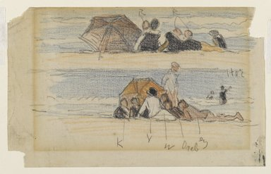 Edward Henry Potthast (American, 1857-1927). Two Sketches of Beach Figures, late 19th-early 20th century. Graphite and crayon on cream wove paper, Sheet: 5 x 8 in. (12.7 x 20.3 cm). Brooklyn Museum, Gift of Julian and Elaine Hyman, 1997.199.1