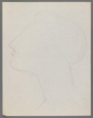 Elie Nadelman (American, 1882-1946). Head, n.d. Graphite on thin, cream, smooth wove paper, Sheet: 11 x 8 1/2 in. (27.9 x 21.6 cm). Brooklyn Museum, Gift of Virginia M. Zabriskie, 1997.202.2. © Estate of Elie Nadelman