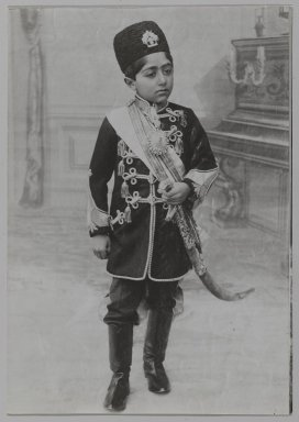 Portrait of Malijak Aziz al-Sultan or Ahmad Shah as a Young Boy, One of 274 Vintage Photographs, ca. 1890 or 1900-1905. Gelatin silver photograph, 6 1/2 x 4 9/16 in.  (16.5 x 11.6 cm). Brooklyn Museum, Purchase gift of Leona Soudavar in memory of Ahmad Soudavar, 1997.3.101