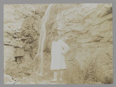 Mozaffar al-Din Shah Posing before a Waterfall, One of 274 Vintage Photographs, late 19th-early 20th century. Gelatin silver printing out paper, 4 5/8 x 6 1/4 in.  (11.7 x 15.9 cm). Brooklyn Museum, Purchase gift of Leona Soudavar in memory of Ahmad Soudavar, 1997.3.107