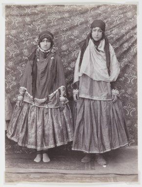 Possibly Antoin Sevruguin. Two Women in Tribal Costume, Late 19th century. Albumen silver photograph, 7 3/8 x 5 1/2 in.  (18.7 x 14.0 cm). Brooklyn Museum, Purchase gift of Leona Soudavar in memory of Ahmad Soudavar, 1997.3.10