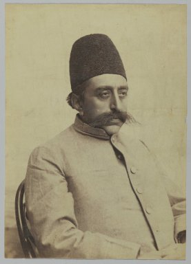 Studio Portrait of Mozaffar al-Din Shah in Informal Attire, One of 274 Vintage Photographs, 1875-1925. Albumen silver photograph, 9 3/16 x 6 1/2 in.  (23.3 x 16.5 cm). Brooklyn Museum, Purchase gift of Leona Soudavar in memory of Ahmad Soudavar, 1997.3.111