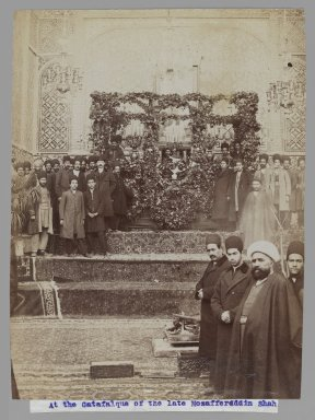 At the Catafalque of the late Mozaffar al-Din Shah,  One of 274 Vintage Photographs, 1906. Albumen silver photograph, 8 3/16 x 6 3/16 in.  (20.8 x 15.7 cm). Brooklyn Museum, Purchase gift of Leona Soudavar in memory of Ahmad Soudavar, 1997.3.113