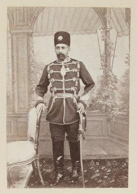 Portrait of Prince Abdul Husayn Mirza (Farma Farmaian)? One of 274 Vintage Photographs, late 19th-early 20th century. Albumen silver photograph, Photo:  6 5/8 x 4 1/2 in.  (16.8 x 11.4 cm);. Brooklyn Museum, Purchase gift of Leona Soudavar in memory of Ahmad Soudavar, 1997.3.116