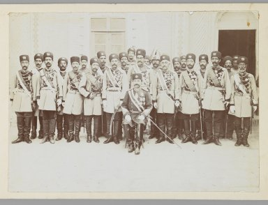 Group Portrait of an Officer with his Regiment in a Courtyard, One of 274 Vintage Photographs, late 19th-early 20th century. Gelatin silver printing out paper, Photo:  5 1/16 x 7 1/16 in.  (12.9 x 17.9 cm);. Brooklyn Museum, Purchase gift of Leona Soudavar in memory of Ahmad Soudavar, 1997.3.118