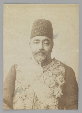 Portrait of Prime Minister Sadr a'zam Amin al-Soltan in Uniform,  One of 274 Vintage Photographs, late 19th-early 20th century. Albumen silver photograph, 5 1/2 x 3 15/16 in.  (14.0 x 10.0 cm). Brooklyn Museum, Purchase gift of Leona Soudavar in memory of Ahmad Soudavar, 1997.3.119