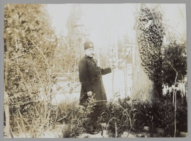 Mozaffar al-Din Shah in a Garden, One of 274 Vintage Photographs, late 19th-early 20th century. Gelatin silver printing out paper, 4 5/8 x 6 5/16 in.  (11.7 x 16.0 cm). Brooklyn Museum, Purchase gift of Leona Soudavar in memory of Ahmad Soudavar, 1997.3.123