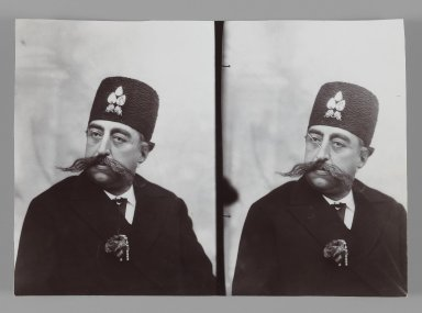A Double Portrait of Mozaffar al-Din Shah, One of 274 Vintage Photographs, late 19th-early 20th century. Gelatin silver printing out paper, 4 7/16 x 6 1/4 in.  (11.2 x 15.9 cm). Brooklyn Museum, Purchase gift of Leona Soudavar in memory of Ahmad Soudavar, 1997.3.124