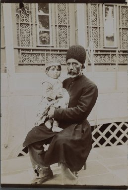 Dowlet Morad Bek & child (Torkmen),  One of 274 Vintage Photographs, late 19th-early 20th century. Gelatin silver printing out paper, 7 1/8 x 4 13/16 in.  (18.1 x 12.2 cm). Brooklyn Museum, Purchase gift of Leona Soudavar in memory of Ahmad Soudavar, 1997.3.135